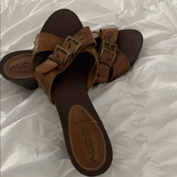 Aldo Shoes - Aldo wooden and leather clog sandals